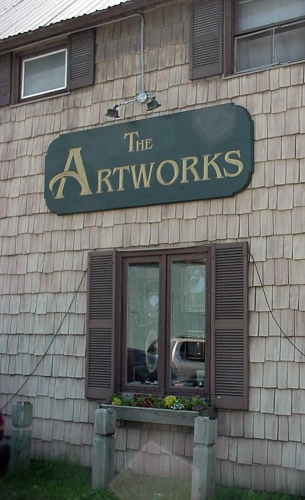 Artworks sign partially carved